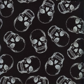 Silver Skulls Skull Pattern Metallic Accents Black Cotton Fabric
