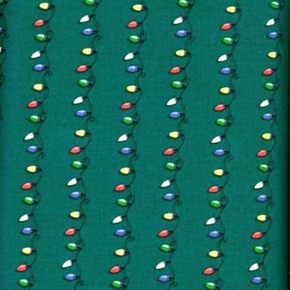 Picture of Christmas Lights String of Holiday Light Bulbs Green Cotton Fabric