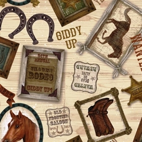 Picture of Cowtown Old Frontier Wild West Horse and Rodeo Cotton Fabric