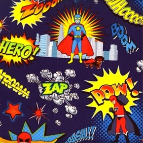 Picture of Kids Superhero Crime Fighter Kid Blue Cotton Fabric