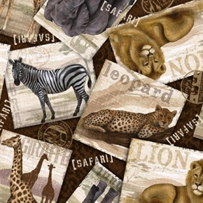 Picture of Safari Travels African Animal Travel Posters Zebra Puma Cotton Fabric