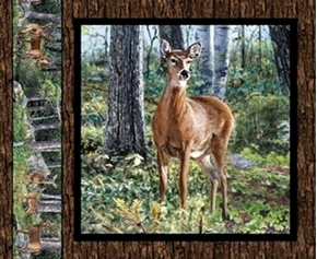 Picture of Wild Wings Cradle Rock Deer Doe by Tree Cotton Fabric Pillow Panel