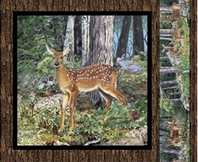 Wild Wings Cradle Rock Deer Fawn In Woods Cotton Fabric Pillow Panel