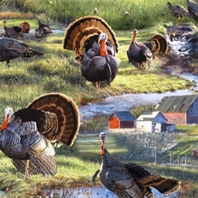 Wild Wings Wild Fancy Turkeys Wild Turkey On The Farm Cotton Fabric