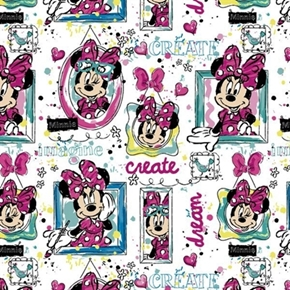 Disney Minnie Mouse Bowtique Window Artist Create White Cotton Fabric