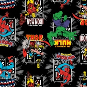 Picture of Marvel Comics II Avengers Action Shots Black Cotton Fabric