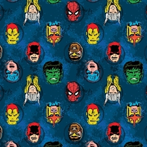 Marvel Comics Immortals Avengers Superhero Faces Blue Cotton Fabric