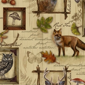 Into The Woods Woodland Animals In Frames On Wood Pine Cotton Fabric
