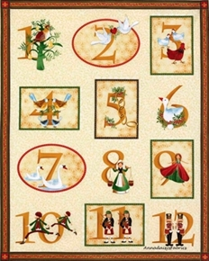 12 Days Of Christmas Holiday Large Cotton Fabric Panel