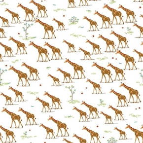 Picture of Heads Up Giraffes on White Cotton Fabric