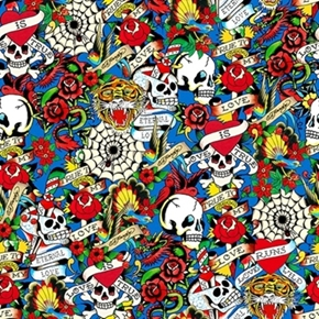 Love Is True Ed Hardy Packed Skulls And Hearts Blue Cotton Fabric