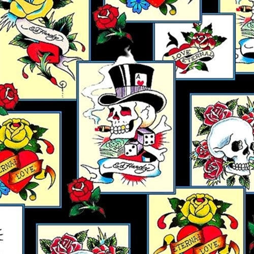 Cotton Fabric Novelty Fabric Love Is True Ed Hardy Skulls Roses