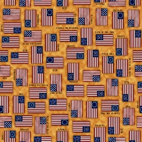For The Love Of Country 1776 Liberty Flags Amber Cotton Fabric