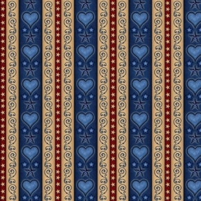 For The Love Of Country Heart And Scroll Stripe Navy Cotton Fabric