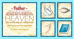 Our Father Prayer Matthew 69 13 Blue 24X44 Cotton Fabric Panel Set