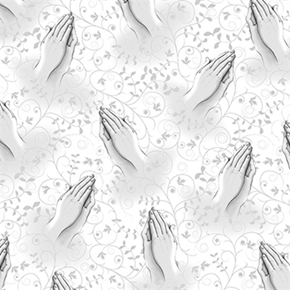 Picture of Our Father Praying Hands Religious Prayer Grey on White Cotton Fabric