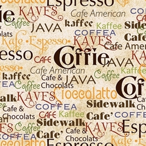Daily Grind Colorful Coffee Words on Cream Cotton Fabric