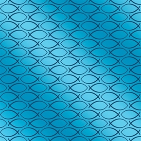 Our Father Peace Fish Geo Ichthus Blue Cotton Fabric