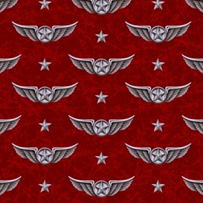 Wingman Smithsonian Military Pilots Wings Marble Red Cotton Fabric
