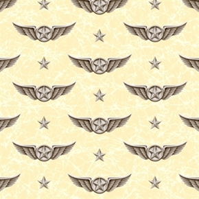 Wingman Smithsonian Military Pilots Wings Marble Cream Cotton Fabric