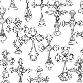 Church Ladies Decorative Cross Crosses Black On White Cotton Fabric