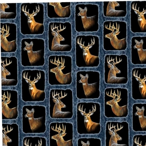 Wild Wings Wintergreen Deer Buck Heads In Squares Cotton Fabric