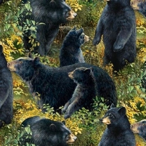 Wild Wings Basic Black Bear Family Bears In The Field Cotton Fabric
