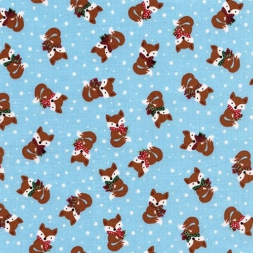 Winter Fox Wearing Scarf Tiny Foxes In Snow Blue Cotton Fabric