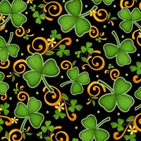 Picture of Lucky Shamrocks St Patrick's Shamrock and Scroll Black Cotton Fabric