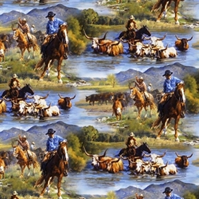 Picture of Wild Wings Ranchero Cowboys Herding Cattle in Water Cotton Fabric