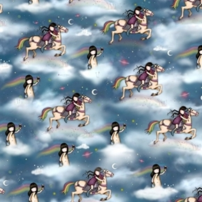 Rainbow Dreams Santoros Gorjuss Girl Horse Celestial Cotton Fabric
