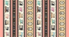 Picture of Thimble Pleasures Coral Sew Machine Decorative Stripe Cotton Fabric
