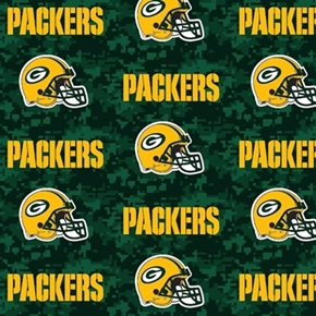 Picture of NFL Football Green Bay Packers Digital Camouflage 18x29 Cotton Fabric