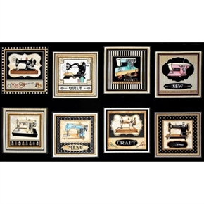 Thimble Pleasures Vintage Sewing Machines Black 24X44 Fabric Panel