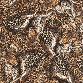 The Wild Side Cheetah Collage Animal Skin Brown Fur Cotton Fabric