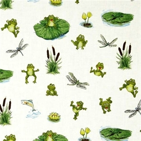 Picture of Suzy's Zoo The Great Outdoors Frogs Dragonflies Fish Cotton Fabric