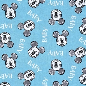 Disney Mickey Mouse Oh Boy Baby Mickey Head Toss Cotton Fabric
