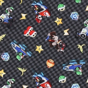 Nintendo Character Checkered Toss Mario Brothers Black Cotton Fabric