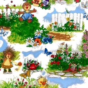 a Day With Suzys Zoo Suzy And Friends Gardening 2013 Cotton Fabric