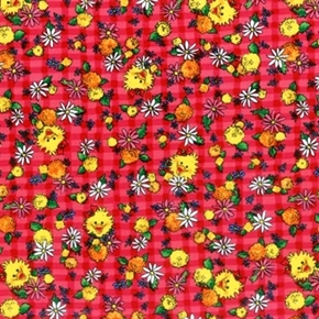 Picture of A Day with Suzy's Zoo Suzy Flowers Strawberry Plaid Cotton Fabric