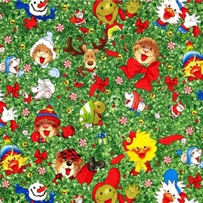 Suzys Zoo Christmas Characters In Holly Head Toss 2013 Cotton Fabric
