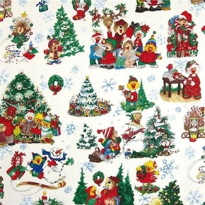 Suzys Zoo Christmas Character Outdoor Play 2013 White Cotton Fabric
