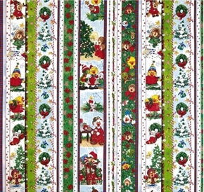 Suzys Zoo Christmas Character 2013 Stripe Cotton Fabric