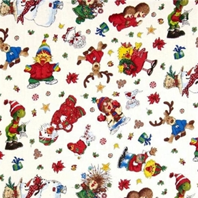 Suzys Zoo Christmas Character Toss 2013 White Cotton Fabric