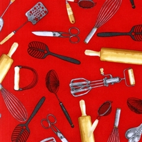 Kiss The Cook Large Kitchen Utensils Whisk Beater Red Cotton Fabric