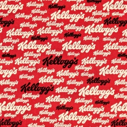 Kelloggs Logo Company Name Kellogg Cereal Red Cotton Fabric