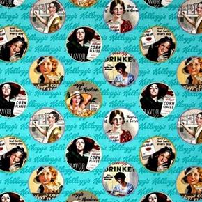Kelloggs Ladies Vintage Round Cereal Ads Aqua Cotton Fabric