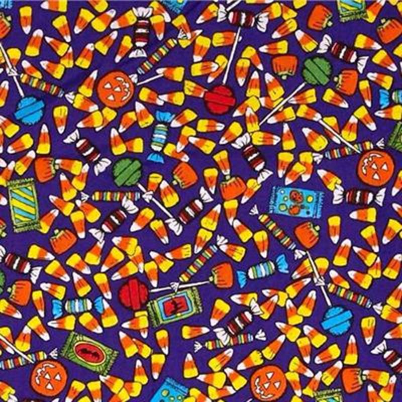 Picture of Ghoul House Rocks Halloween Candy Sweets Treats Purple Cotton Fabric