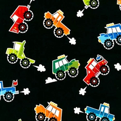 Cotton fabric childrens fabric super speedway cute for Monster truck fabric