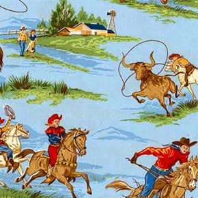 Rideem Cowboy 2 Western Ranch Round Up Blue Cotton Fabric